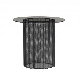 hubsch table basse ronde metal plie perfore plateau verre noir 991103