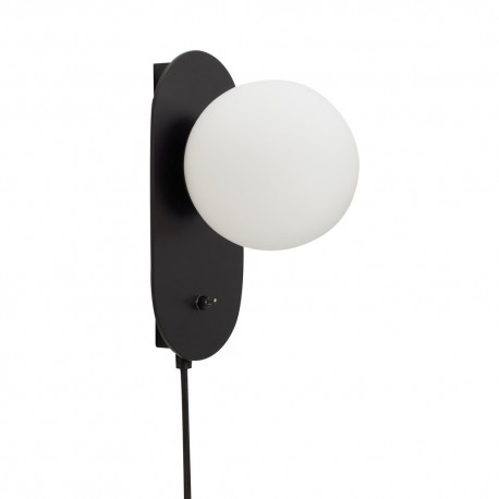 applique murale boule blanche metal noir hubsch 991110