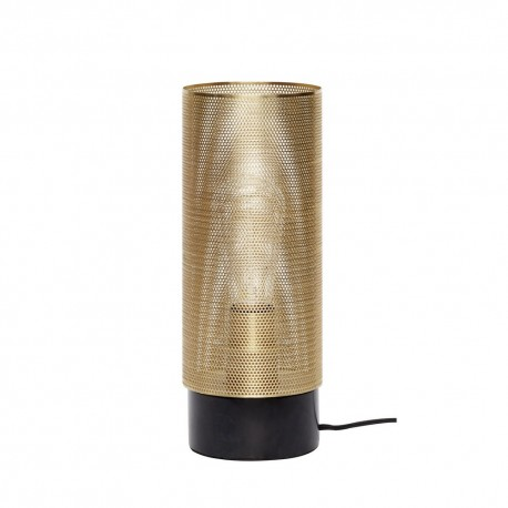 lampe de table tube metal dore perfore hubsch 991111