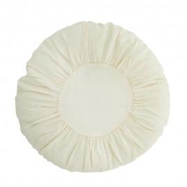 Grand coussin rond shabby chic lin plissé Madam Stoltz blanc