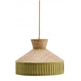 suspension ronde canne tressee et tissu coton vert madam stoltz