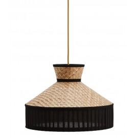suspension ronde tressee canne et textile coton noir madam stoltz