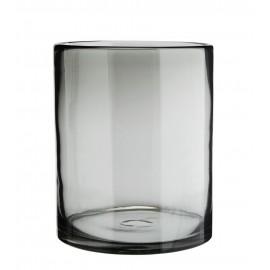 Vase droit cylindre verre Madam Stoltz gris