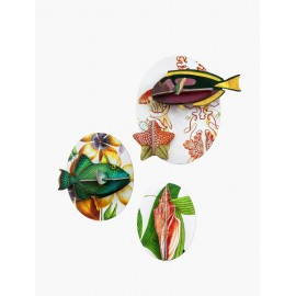 decoration murale en carton style vintage poissons studio roof set de 3
