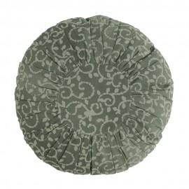 Coussin rond coton plissé imprimé Madam Stoltz vert