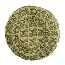 Coussin rond coton imprimé plissé Madam Stoltz vert