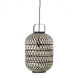 bloomingville suspension lanterne bambou tresse noir nature 82047006