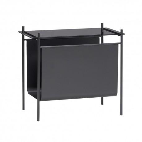 hubsch table basse bout de canape range revues metal noir verre 021111