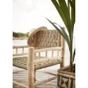 madam stoltz chaise lounge bois naturel feuilles de palmier tressees