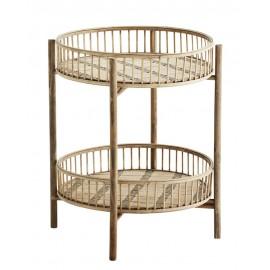 madam stoltz table basse d appoint ronde 2 niveaux bois de bambou