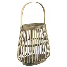 lanterne decorative en bambou verre avec poignee ib laursen
