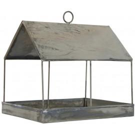 mangeoire pour oiseaux forme de maison metal gris vintage