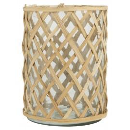 photophore verre transparent et bambou tresse ib laursen