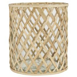 grande photophore de sol verre transparent bambou tresse ib laursen
