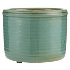 Cache-pot rainuré céramique émaillée IB Laursen vert
