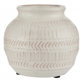 petit vase rond style campagne ceramique blanche texture ib laursen