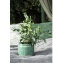 cache pot vert ceramique emaillee craquelee style campagne ib laursen