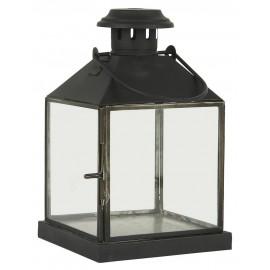 lanterne carree style campagne rustique metal noir verre