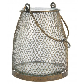 lanterne verre grillage fin metal ancien dore campagne ib laursen