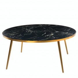 table basse ronde effet marbre noir pols potten pieds laiton