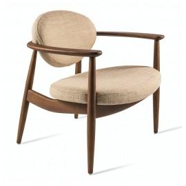 pols potten roundy fauteuil bas lounge retro bois textile beige