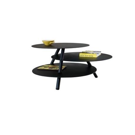 Table basse noire ronde acier design pulpo big trio - Tables basses noires ...