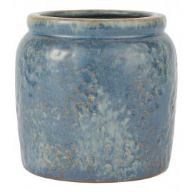 cache pot style ancien ceramique patine bleu ib laursen d 11 cm