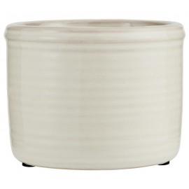 petit cache pot blanc ceramique emaillee rainure ib laursen