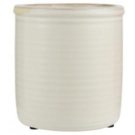 Cache-pot émaillé céramique rainuré IB Laursen blanc
