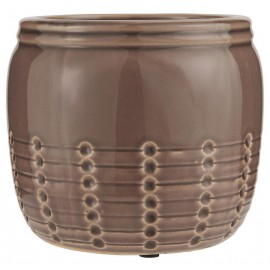 cache pot decoratif ceramique emaille craquele taupe ib laursen