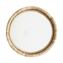 miroir mural rond cadre bambou rustique campagne madam stolz
