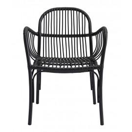 house doctor brea chaise de jardin noire aluminium imitation rotin