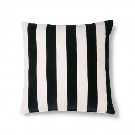 hk living coussin carre velours rayures noir et blanc 50 x 50 cm