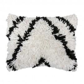 hk living coussin rectangulaire a poil long fourrure blanc noir