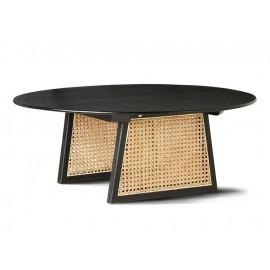 hk living table basse ronde noire bois cannage rotin d 80 cm