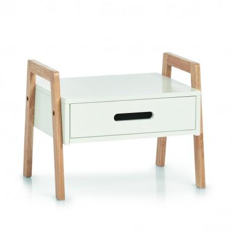 Petit meuble étagère avec tiroir empilable bois Zeller blanc