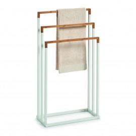 Porte-serviette sur pied métal bambou Zeller blanc