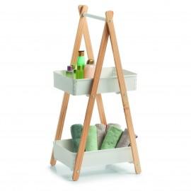 etagere sur pied 2 paniers bambou metal blanc present zeller