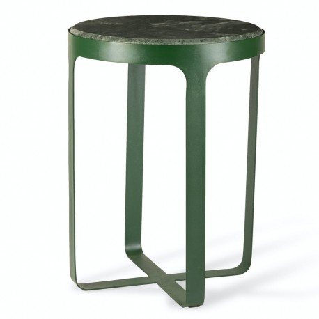 pols potten stoner table d appoint ronde marbre vert metal