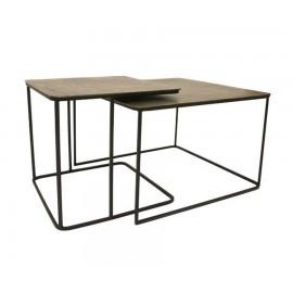 hk living 2 tables basses gigognes carrees metal laiton noir