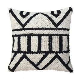 hk living cousin tricot blanc noir motif ethnique 50 x 50 cm