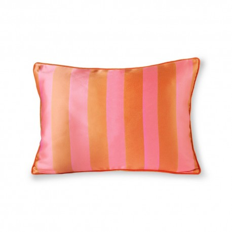 hk living coussin satin velours rayures orange rose