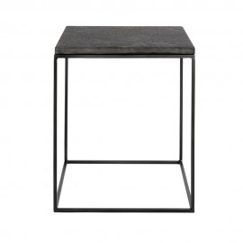 muubs table basse d appoint epuree metal plateau pierre noire