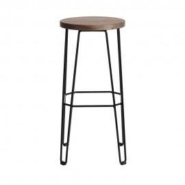 muubs tabouret de bar epure rond metal bois chene teinte fonce