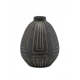 house doctor aljeco grand vase noir gres lignes graphiques