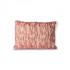 hk living coussin tisse jacquard motif fleuri plisse rose rouge