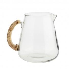Carafe à eau verre transparent poignée bambou Madam Stoltz