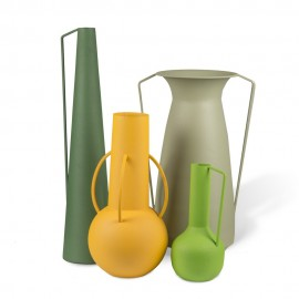 pols potten roman set de 4 vases contemporains metal peint vert jaune