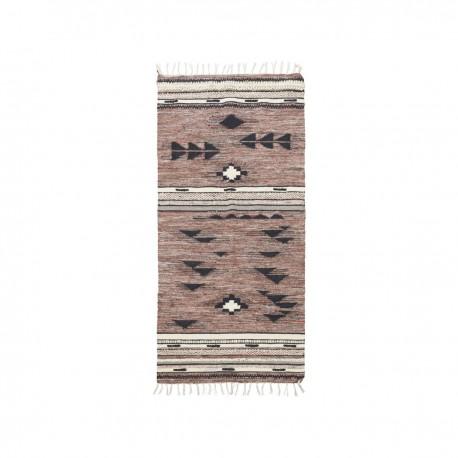 house doctor tribe tapis motif ethnique boheme marron rouge 200 x 90