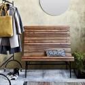 house doctor train banc dossier vintage bois acacia metal noir